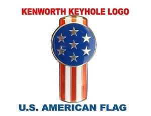 "Kenworth Keyhole (Chrome) U.S. FLAG Emblem - Mini Keyhole Emblem 5-3/8"" x 2-7/8"""