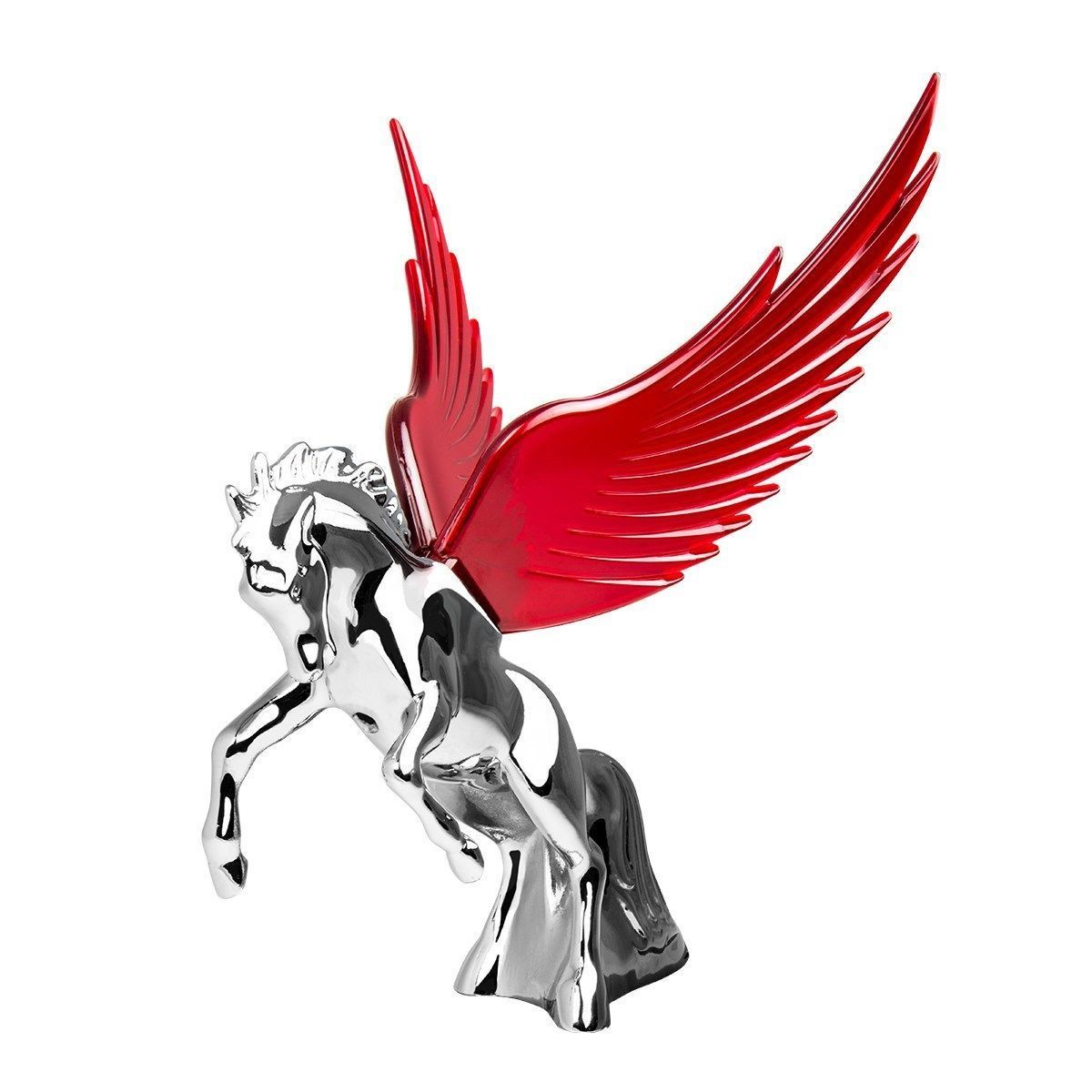 Hood Ornament Flying Stallion Chrome w/ RED Windrider WINGS - Peterbilt KW FL