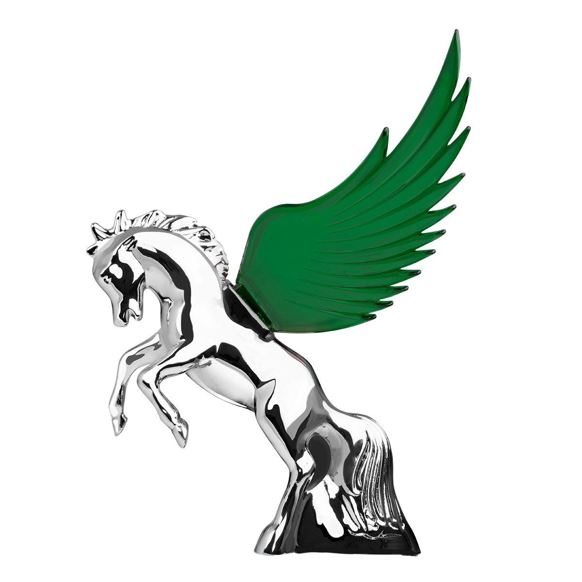 Hood Ornament Flying Stallion Chrome w/ GREEN Windrider WINGS - Peterbilt KW FL