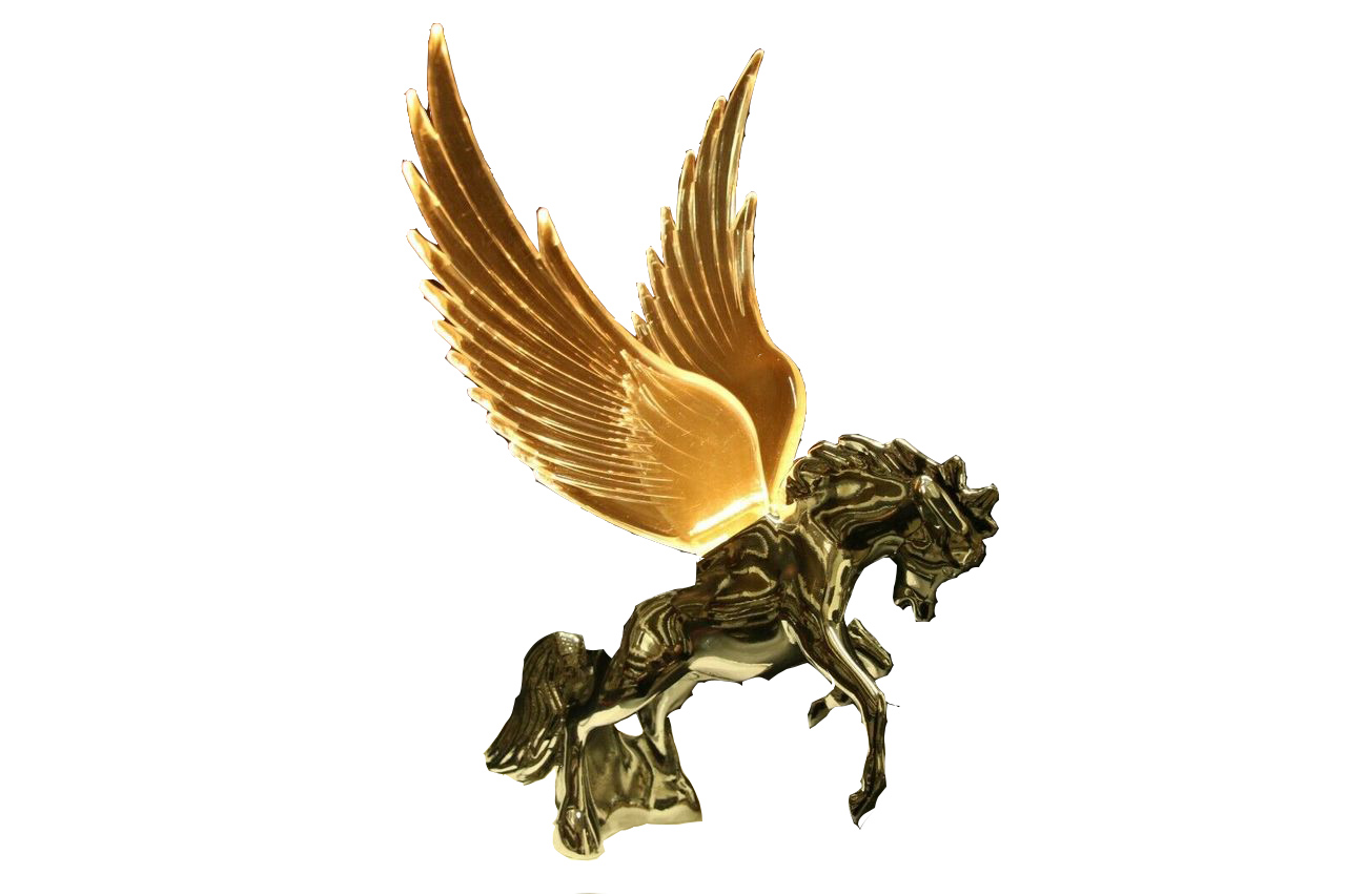 Flying Stallion Chrome w/ GREEN Windrider WINGS - Hood Ornament