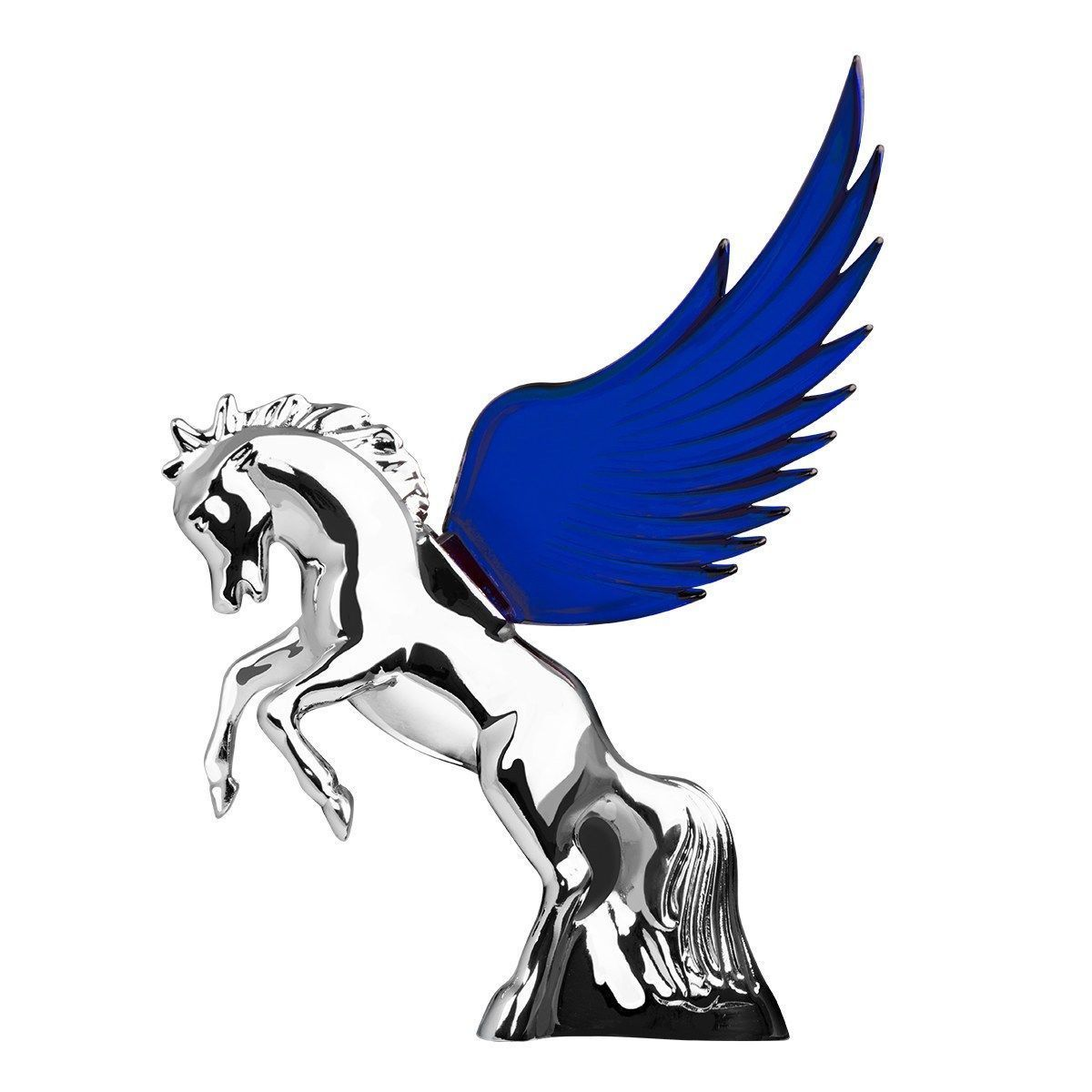 Flying Stallion Chrome w/ BLUE Windrider WINGS - Hood Ornament