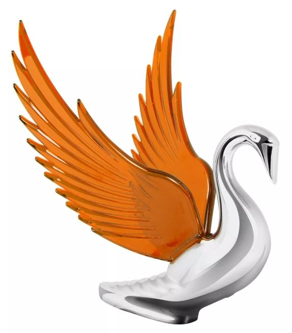 Hood Ornament Swan Bugler Chrome with AMBER Windrider WINGS - Peterbilt KW FL