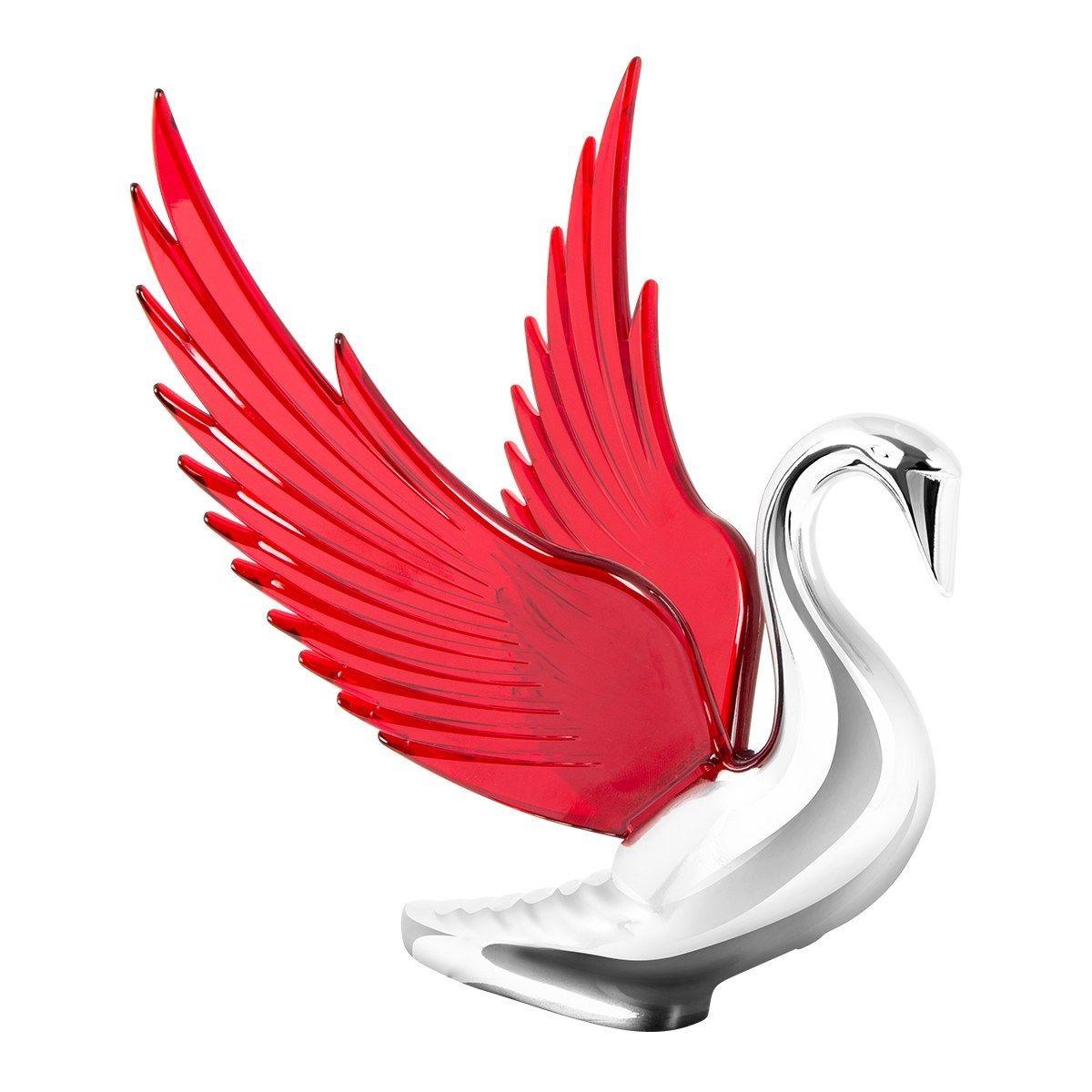 Hood Ornament Swan Bugler Chrome with RED Windrider WINGS - Peterbilt KW FL