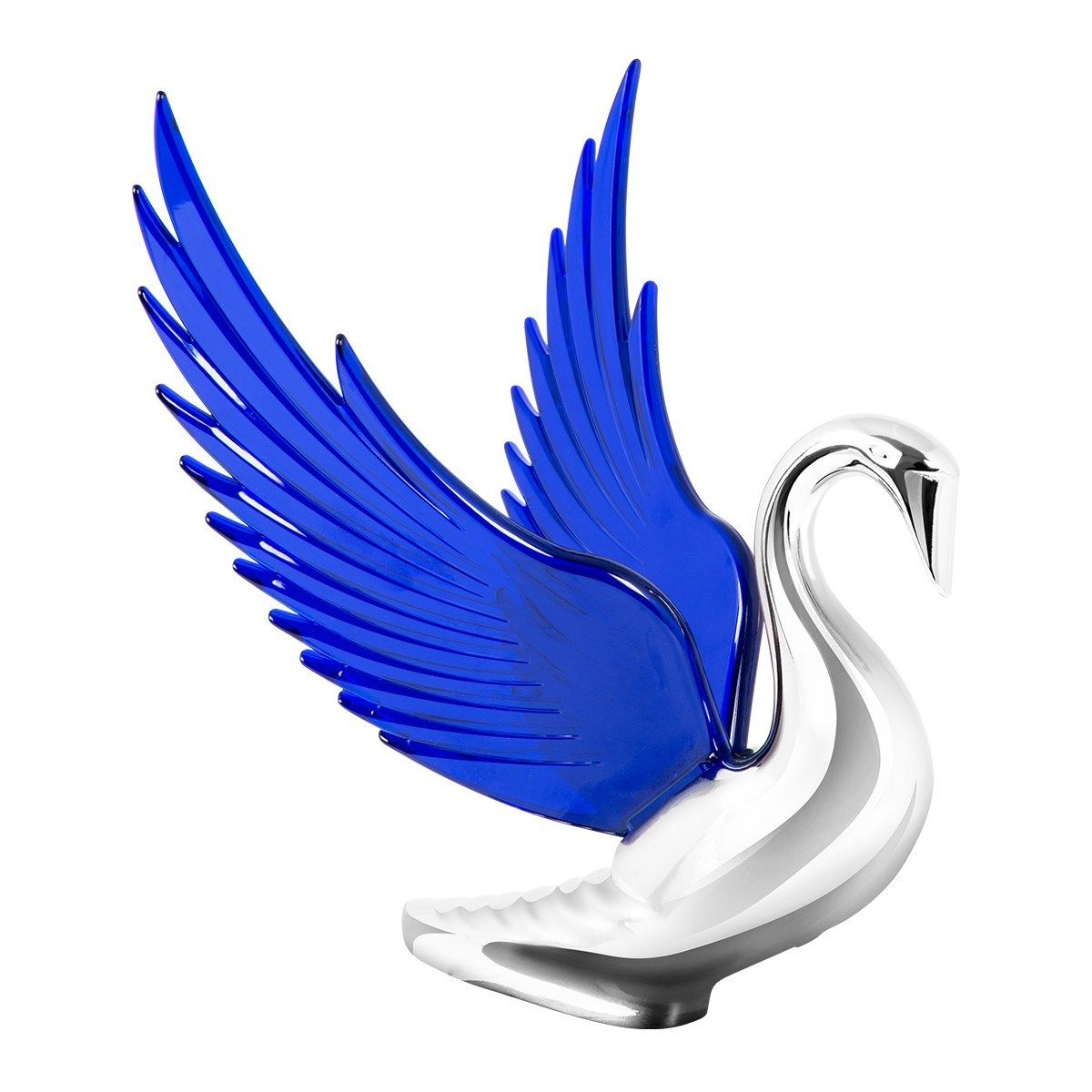 Hood Ornament Swan Bugler Chrome with BLUE Windrider WINGS - Peterbilt KW FL