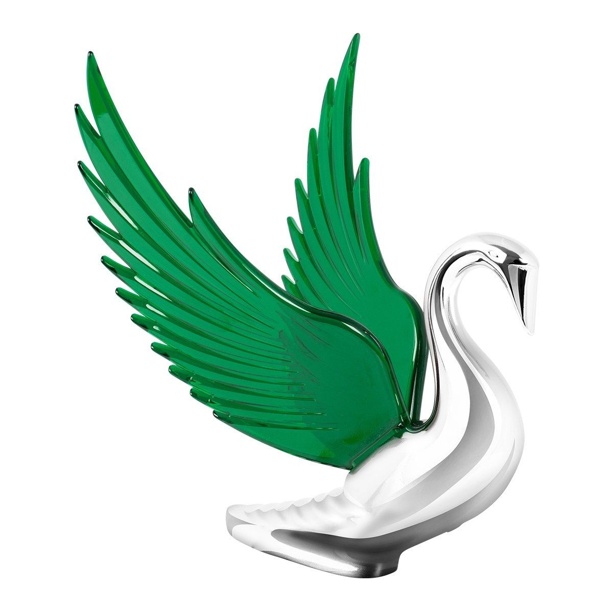 Hood Ornament Swan Bugler Chrome with GREEN Windrider WINGS - Peterbilt KW FL