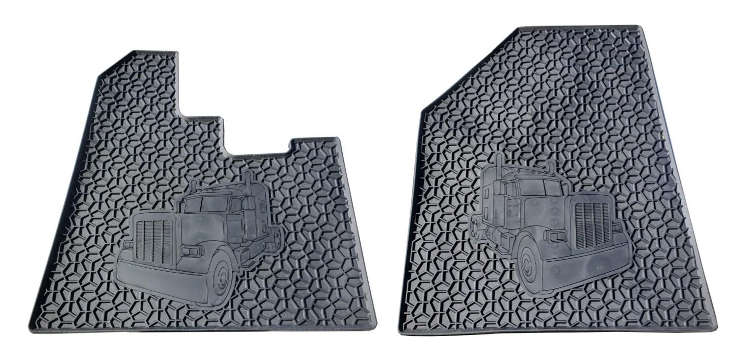 Peterbilt 379 Floor Mat Set (Black 2 PCS) Heavy Duty (2004 or Older)