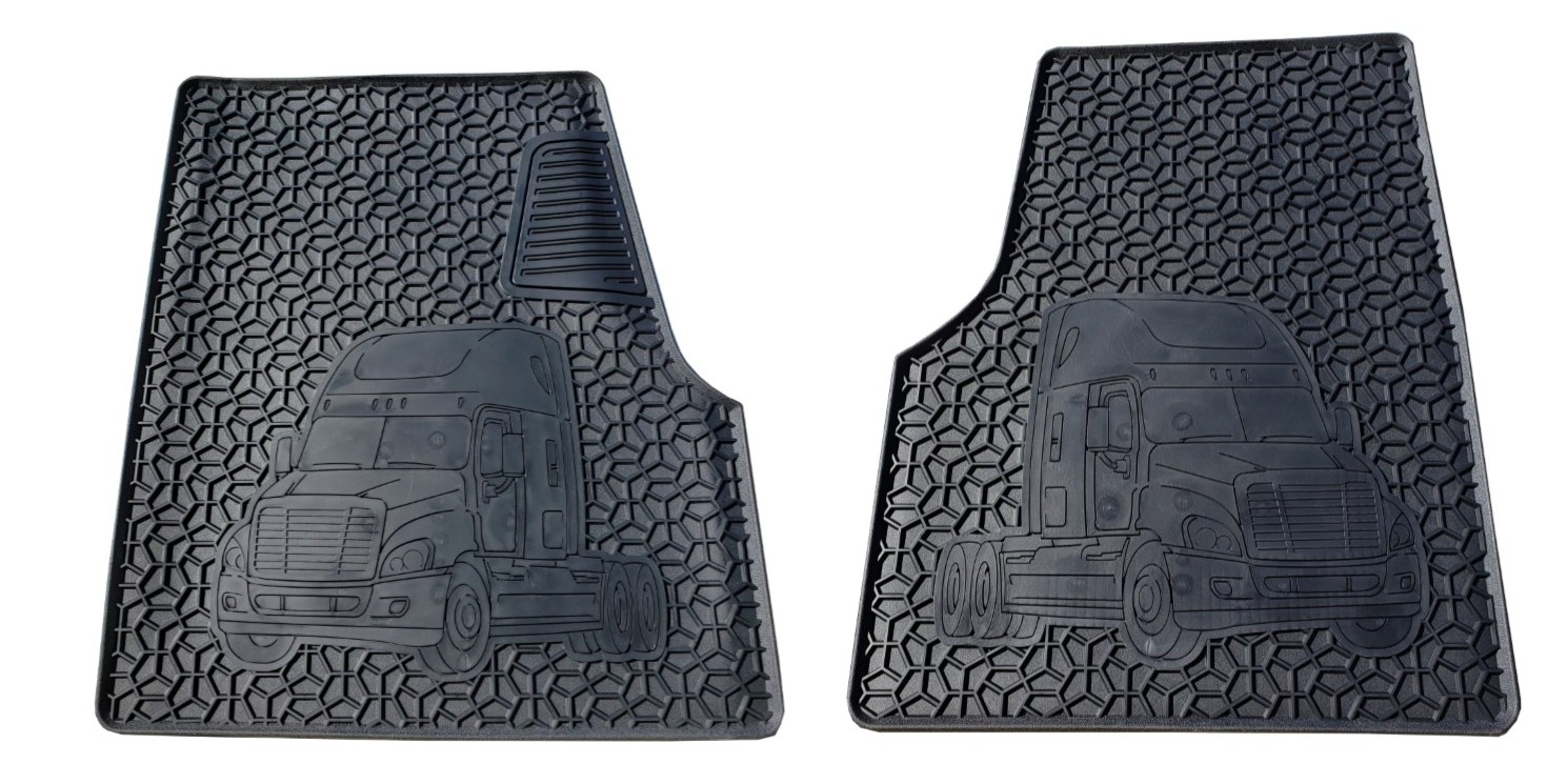 Freightliner Floor Mat Set – Cascadia- Coronado (Black 2 PCS) Heavy Duty