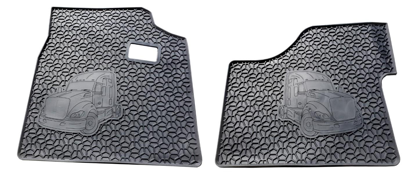 Kenworth Floor Mat Set   T680 (Black 2 PCS) Heavy Duty