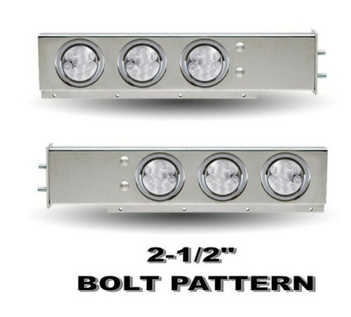 """Flat Top (2.5"""") Mud Flap Hanger (PAIR) w/ 4"""" Clear/Red LED's"""