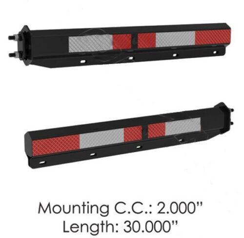 "Black Mud Flap Hanger Set - (2.0"" Bolt) W/ Reflector Tape (PAIR)"
