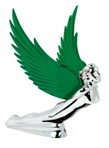 Flying Goddess Chrome with GREEN Windrider Wings - Hood Ornament
