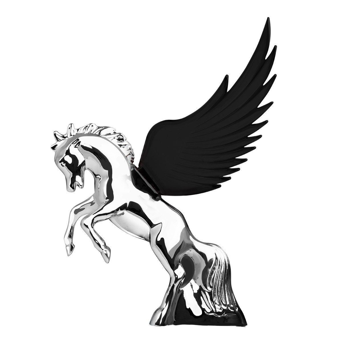 Flying Stallion Chrome w/ BLACK Windrider WINGS - Hood Ornament