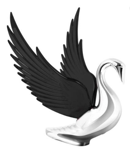 Swan Bugler Chrome with BLACK Windrider Wings - Hood Ornament