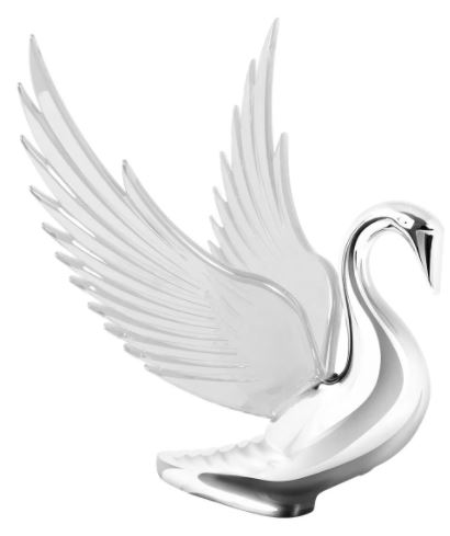 Swan Bugler Chrome with CLEAR Windrider Wings - Hood Ornament