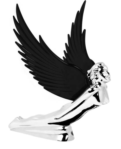 Flying Goddess Chrome with BLACK Windrider Wings - Hood Ornament