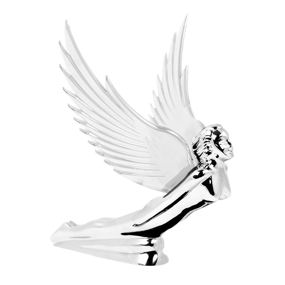 Flying Goddess Chrome with CLEAR Windrider Wings - Hood Ornament