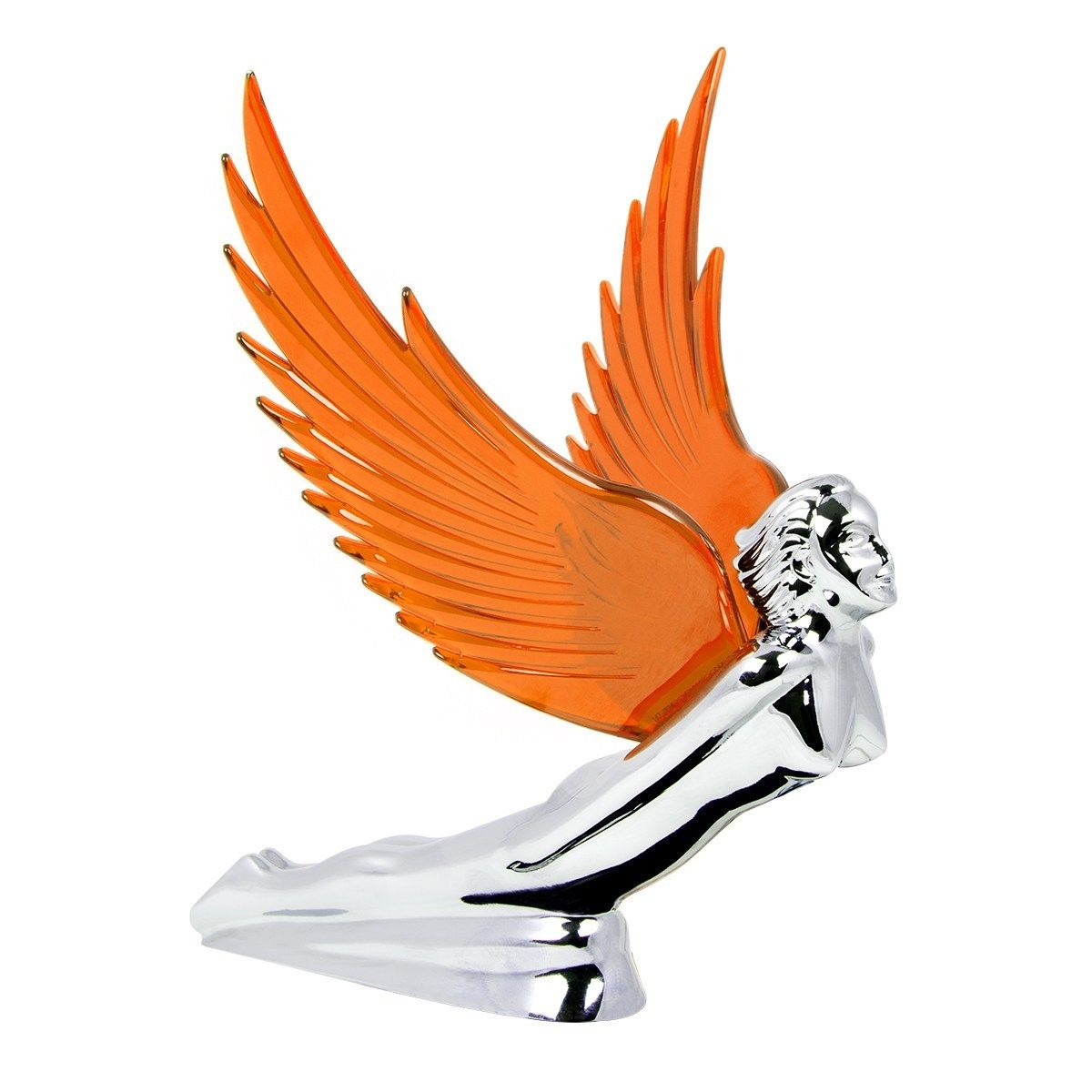 Flying Goddess Chrome with AMBER Windrider Wings - Hood Ornament