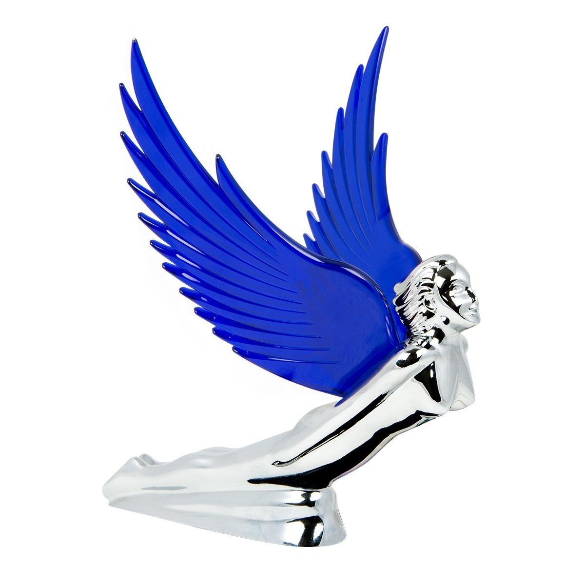 Flying Goddess Chrome with BLUE Windrider Wings - Hood Ornament