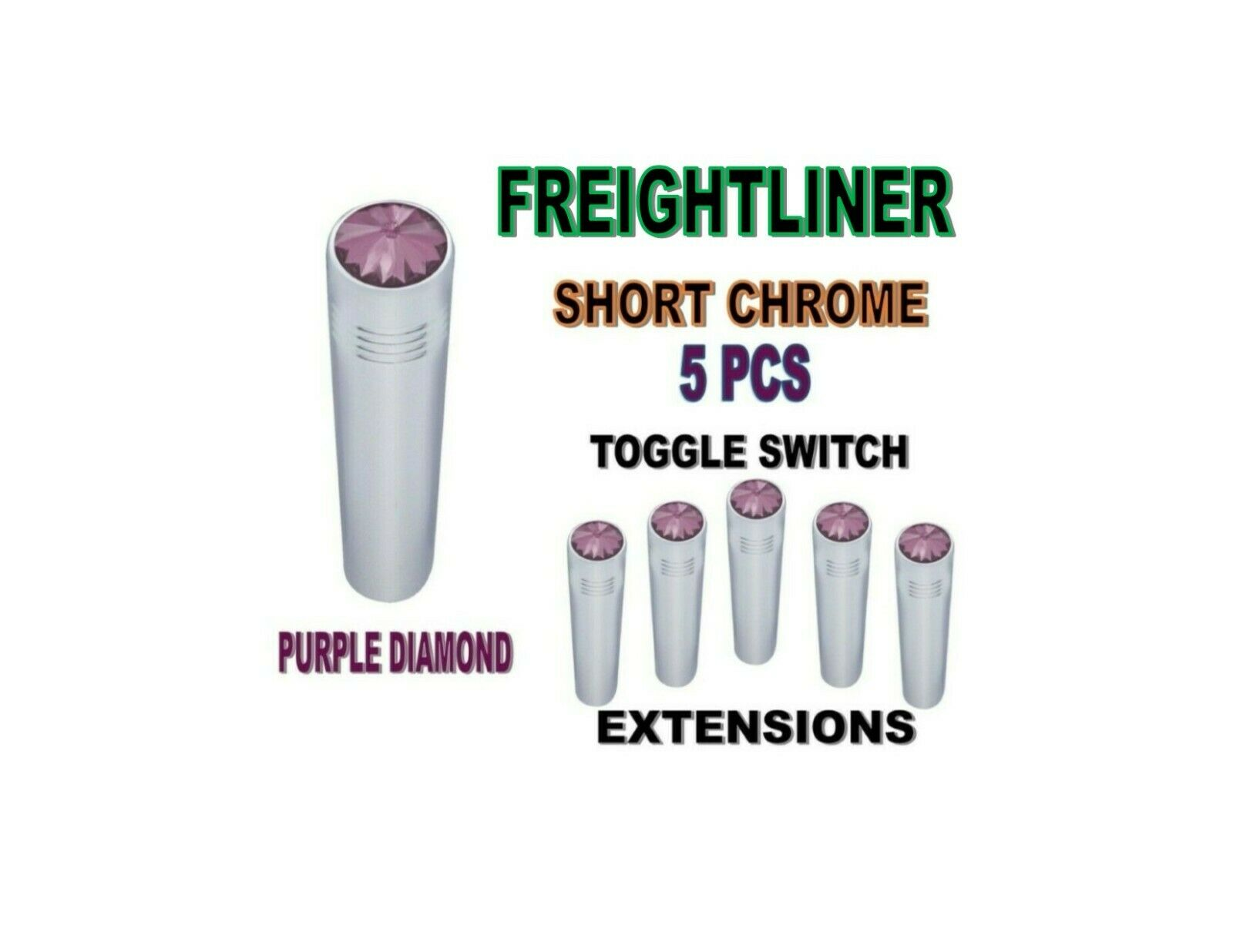 Toggle Switch Ext. Short Chrome - PURPLE Diamond (X5) FREIGHTLINER