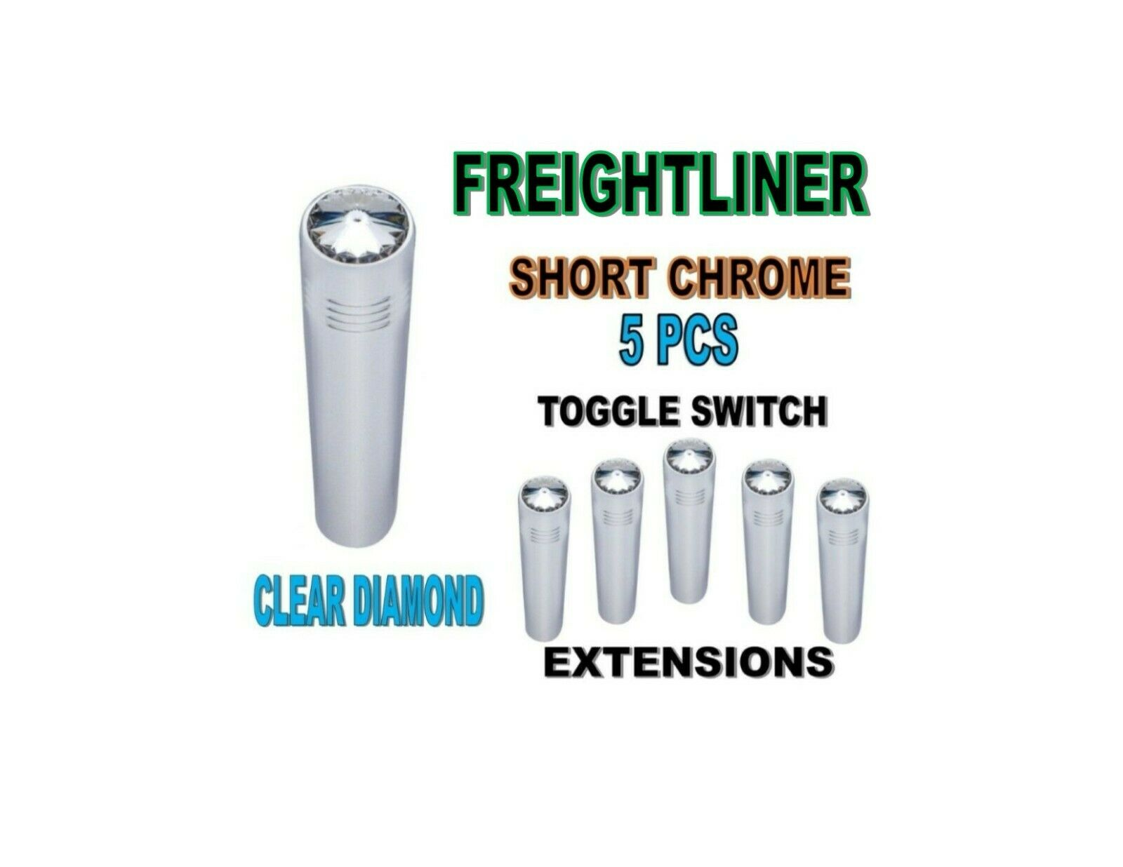 Toggle Switch Ext. Short Chrome - CLEAR Diamond (X5) FREIGHTLINER