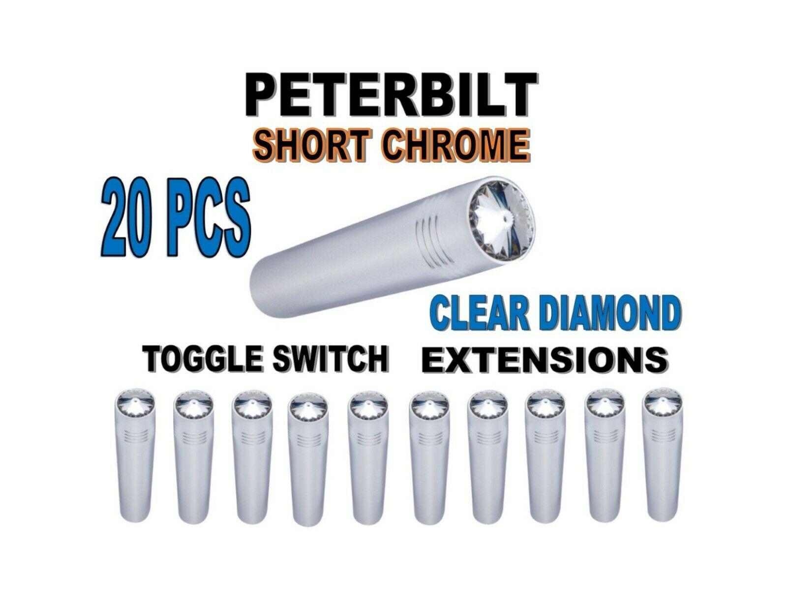 Toggle Switch Ext. Short Chrome - CLEAR Diamond (X20) PETERBILT
