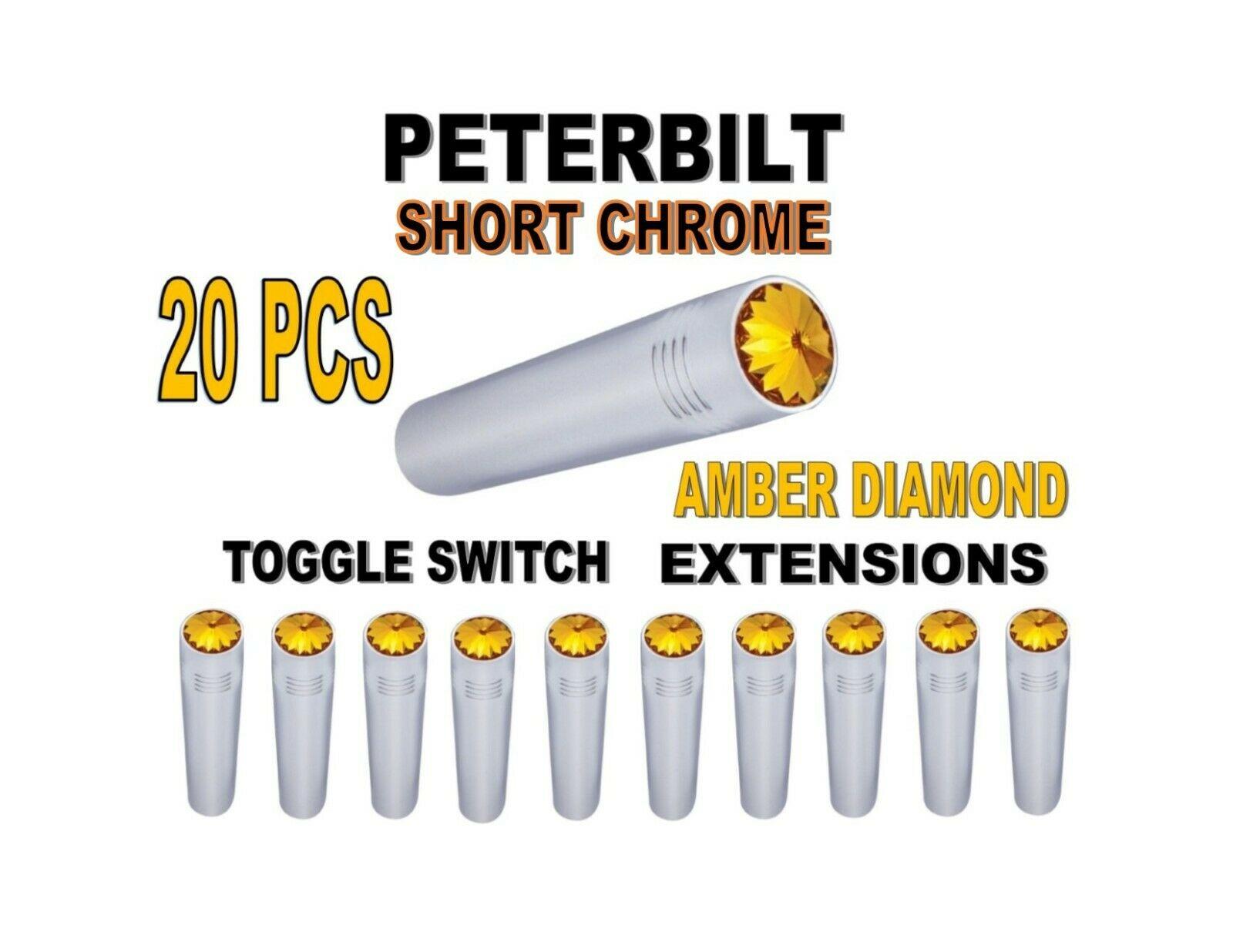 Toggle Switch Ext. Short Chrome - AMBER Diamond (X20) PETERBILT
