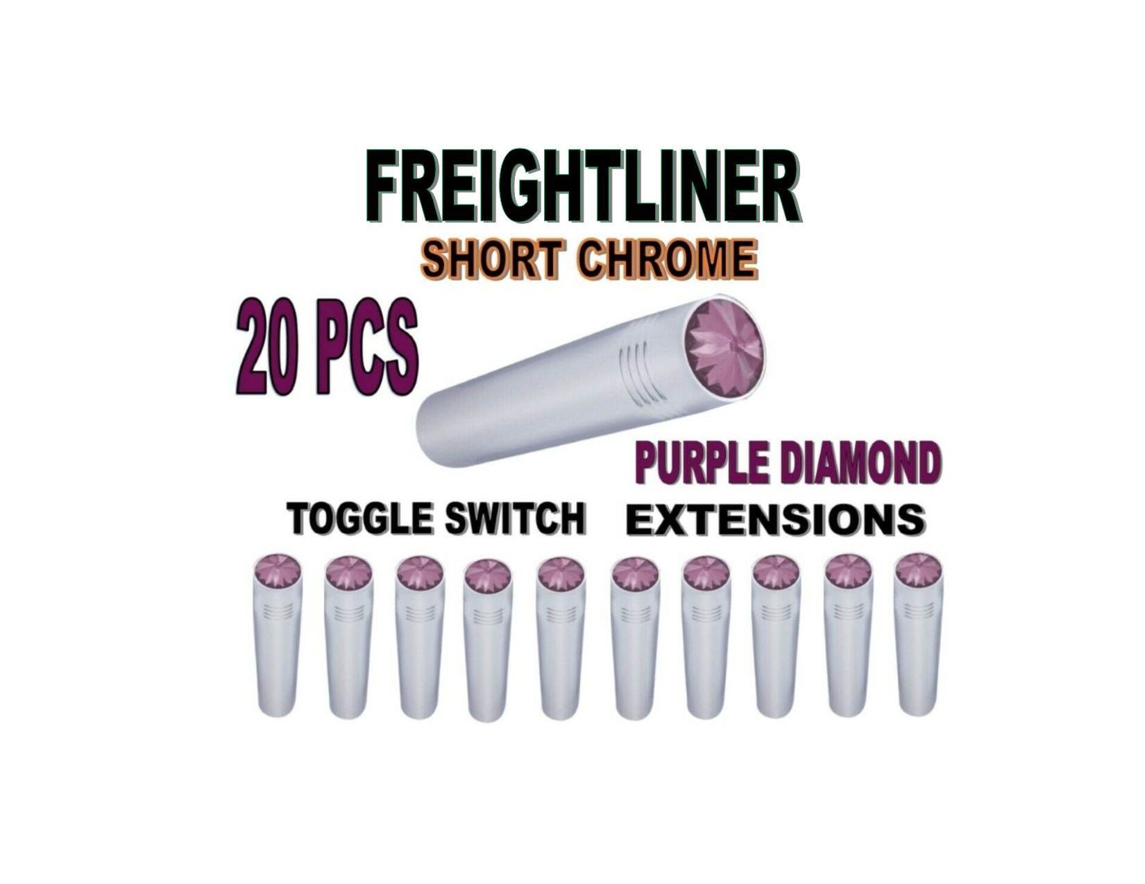 Toggle Switch Ext. Short Chrome - PURPLE Diamond (X20) FREIGHTLINER