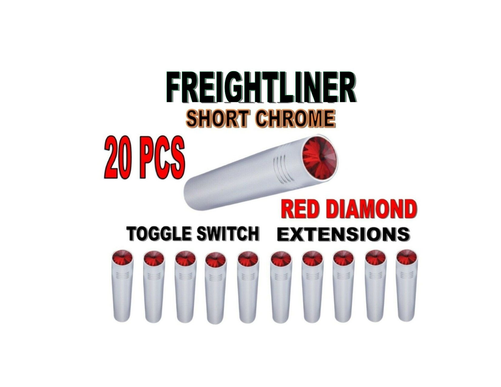 Toggle Switch Ext. Short Chrome - RED Diamond (X20) FREIGHTLINER