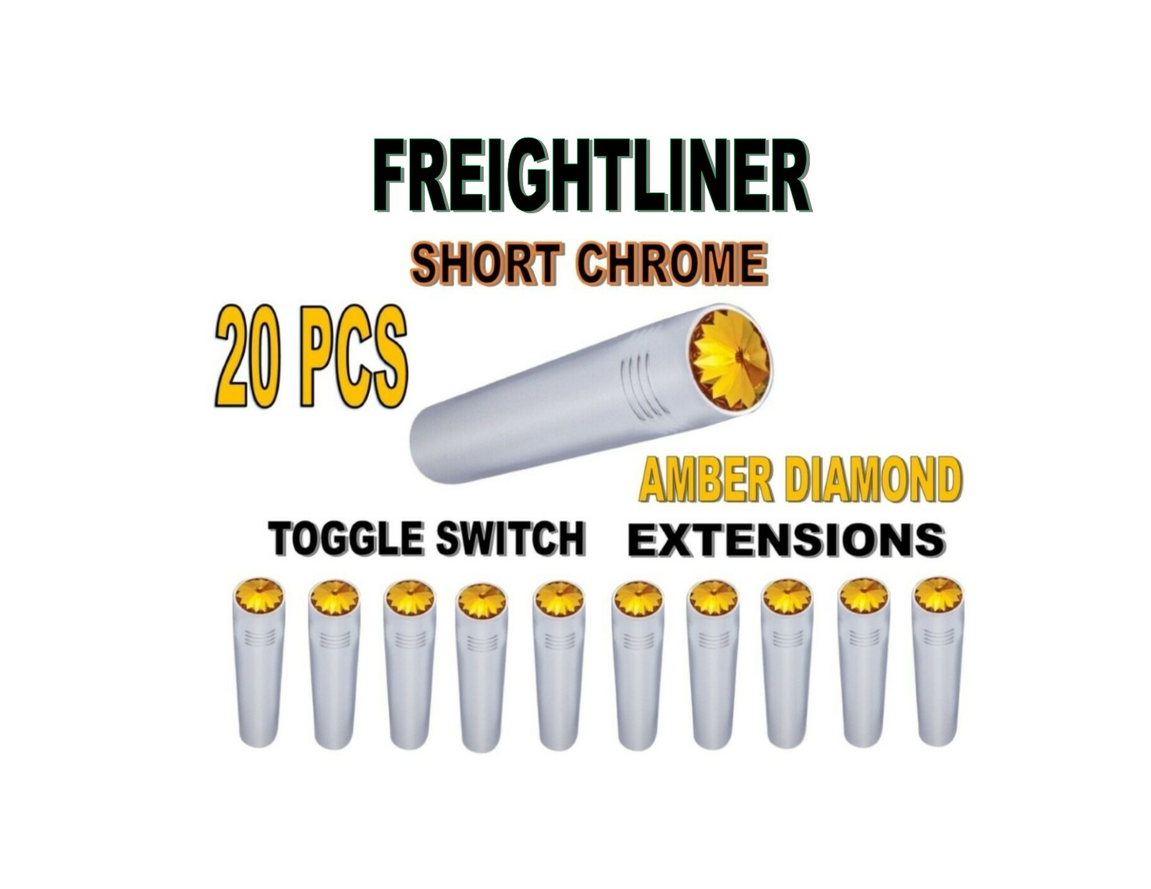 Toggle Switch Ext. Short Chrome - AMBER Diamond (X20) FREIGHTLINER