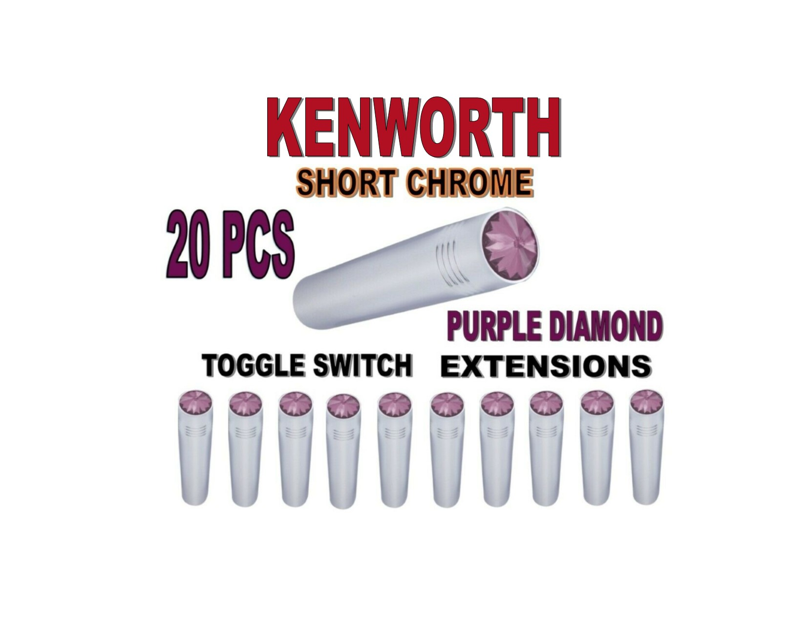 Toggle Switch Ext. Short Chrome - PURPLE Diamond (X20) KENWORTH