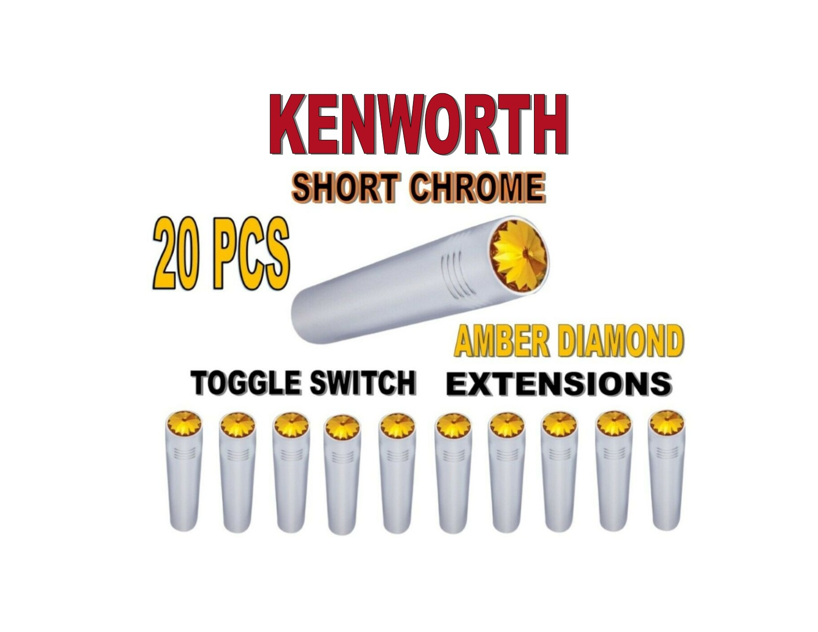 Toggle Switch Ext. Short Chrome - AMBER Diamond (X20) KENWORTH