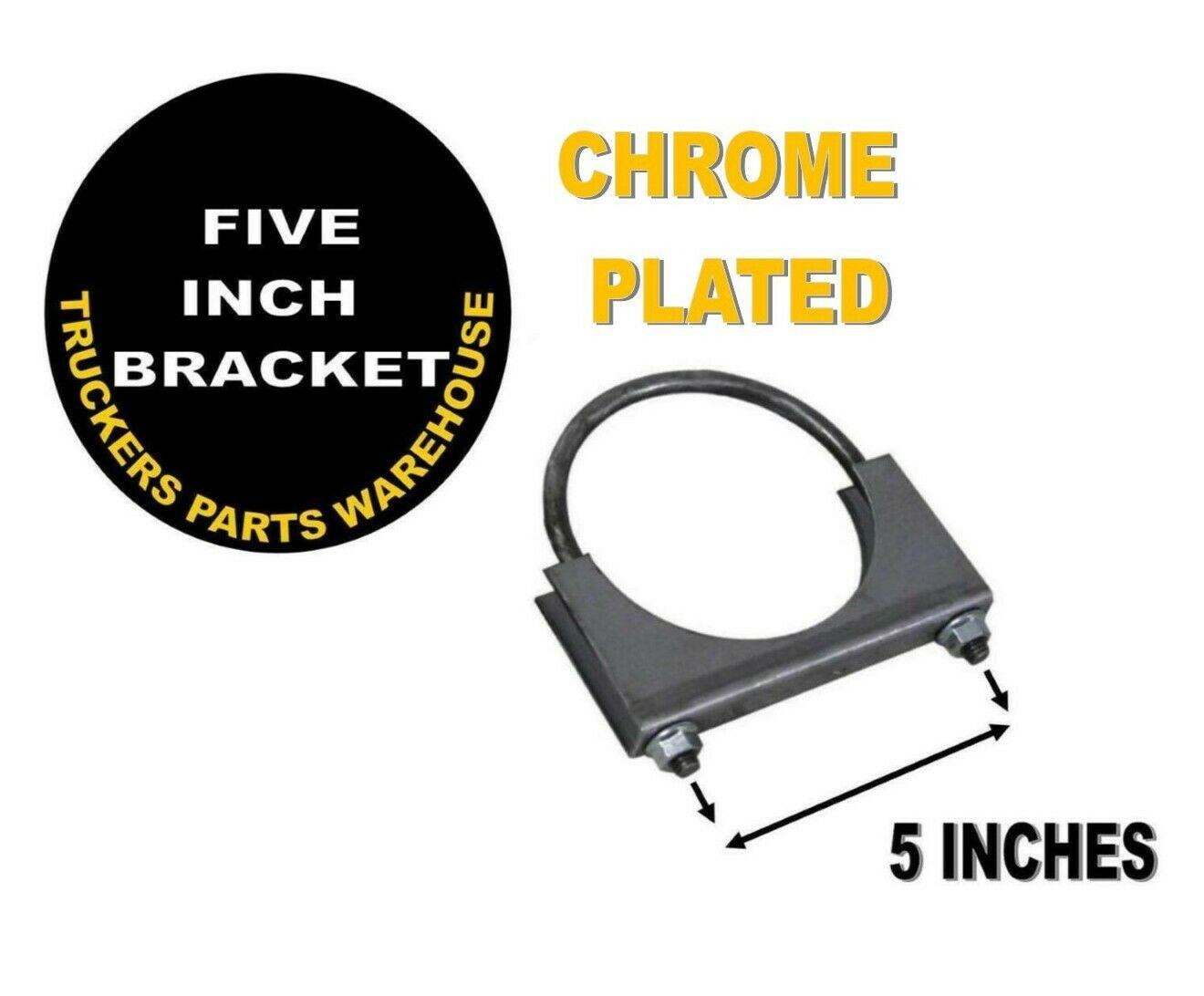 "5"" Welded Saddle Clamp - Flat U Bolt - CHROME Plated Muffler Stack Pipe"