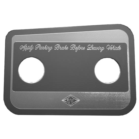 Stainless Steel Parking Brake Control Statement Plate