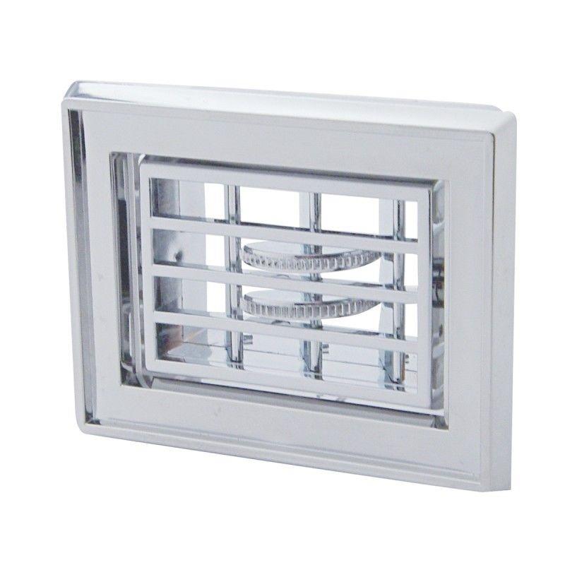 Peterbilt small square A/C heater vent - Chrome plastic (1987-2000)