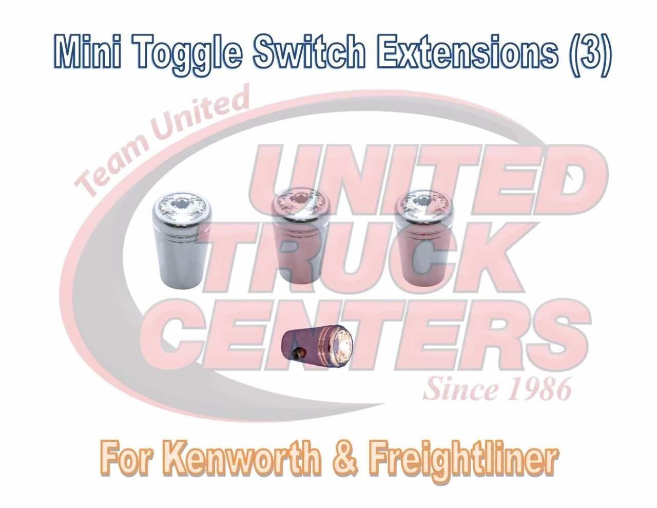 Toggle Switch extensions(3) Mini CLEAR Jewel Chrome - Freightliner KW -  Pointed
