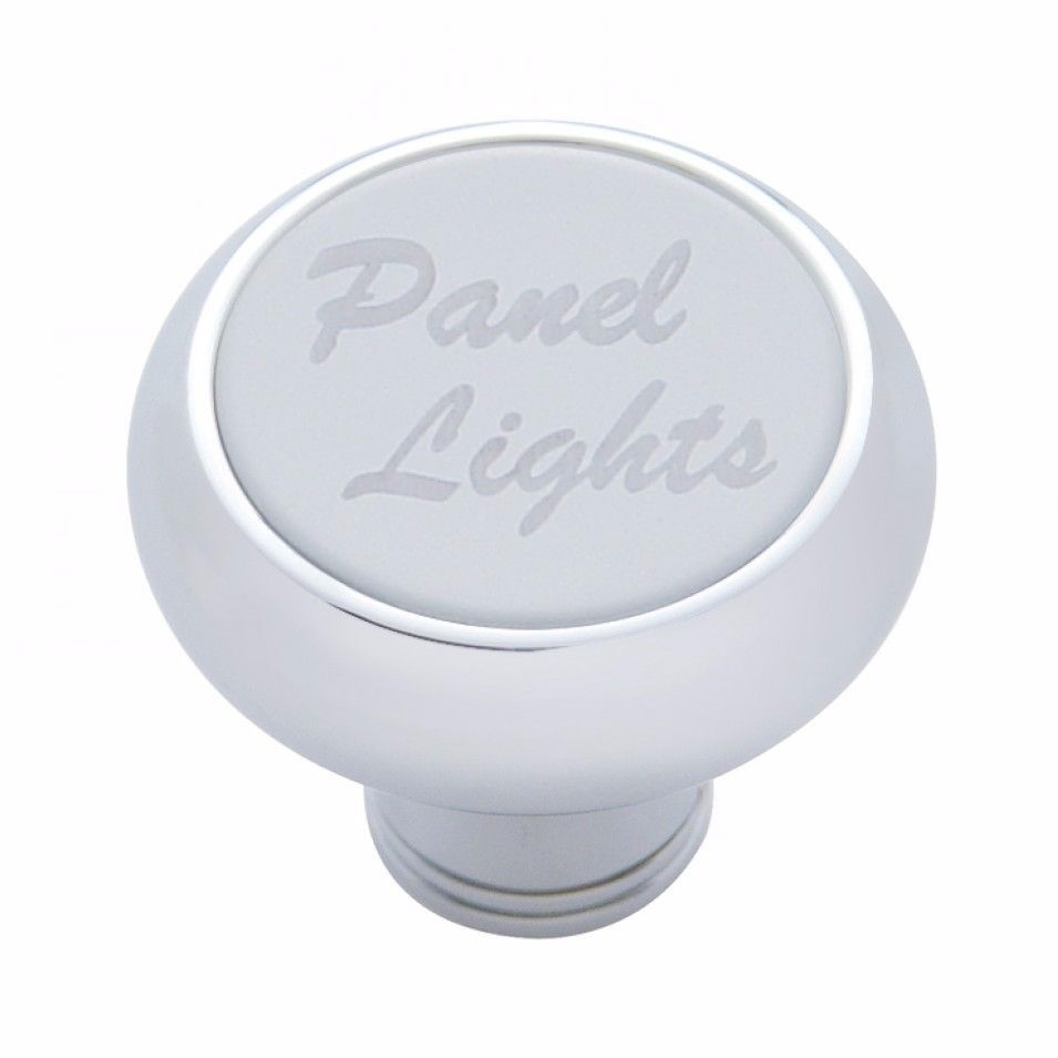 Small Deluxe Panel Lights Chrome Dash Knob - Stainless Steel Plaque