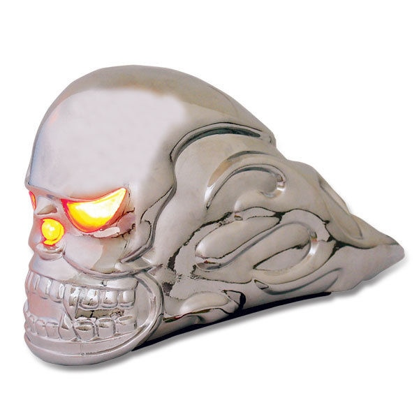 Flaming Skull Hood Ornament - w/ Lighted eyes - PETERBILT FREIGHTLINER KW