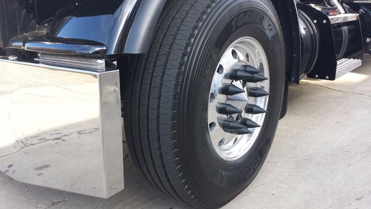 """BLACK 33mm Thread-on Spike Lug Nut Covers 4-1/8"""" Height (20-PK)"""