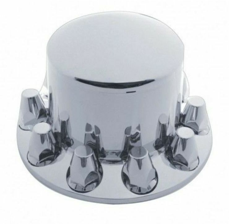 Set of Chrome Front  and Rear Axle Wheel Cover Hub Cap 33mm Lug Nuts Semi Truck