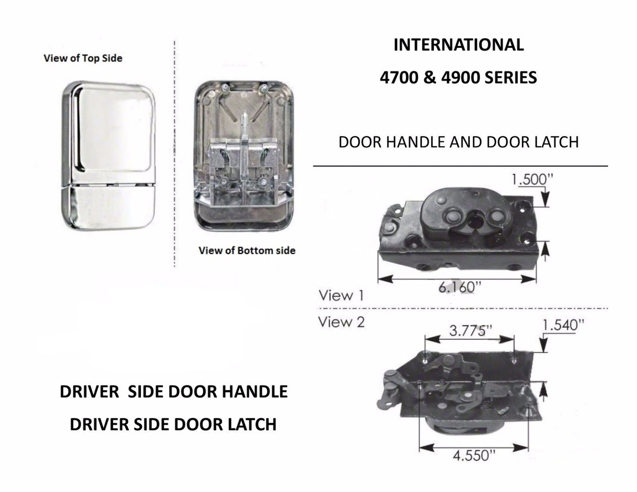 Driver Side Door Handle & Door Latch for International 4700 & 4900 Series Trucks