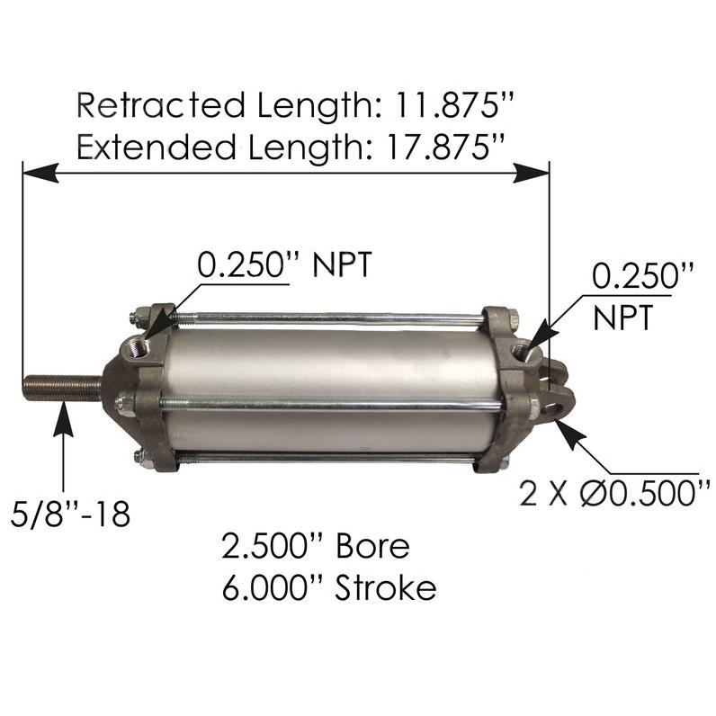 "Tailgate Air Cylinder - 2.5"" Diam/ 6"" Stroke"