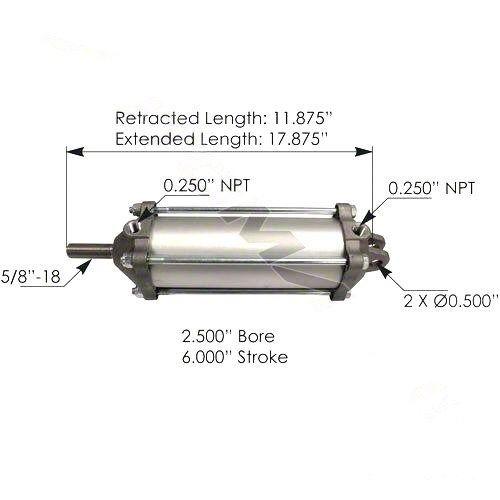 "Tailgate Air Cylinder  2.5"" Diameter - 4"" Stroke"