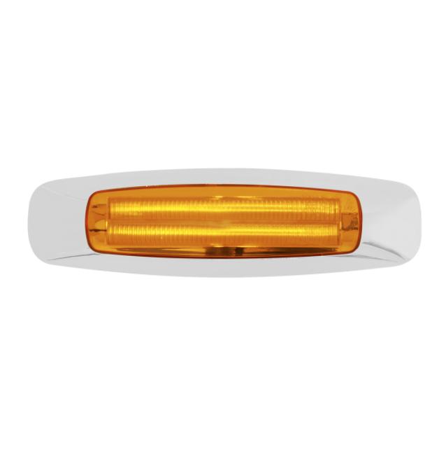 """4 LED Amber Clearance Marker Light Chrome Bezel Prime Series 5-3/4"""" Long"""