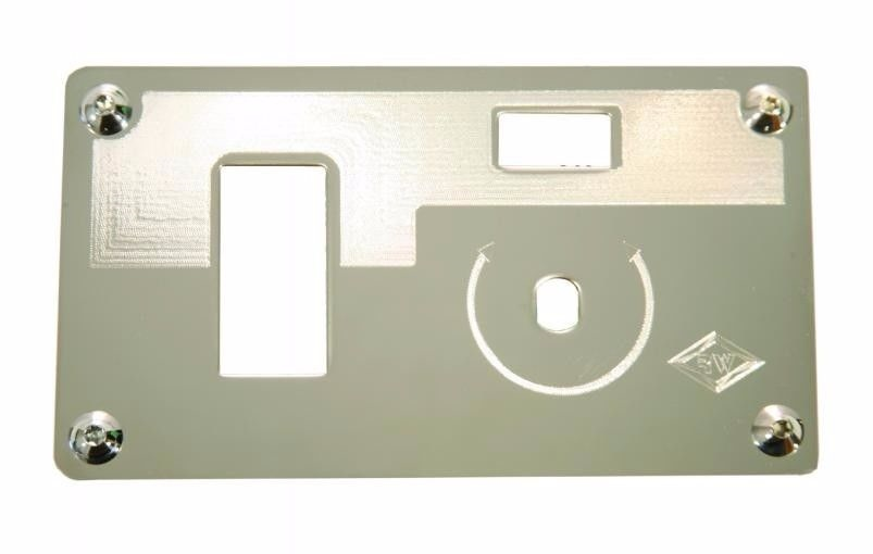 Stainless Steel Switch Plate (Wiper/Washer) with hole for Rocker  - KENWORTH (2002-2006)