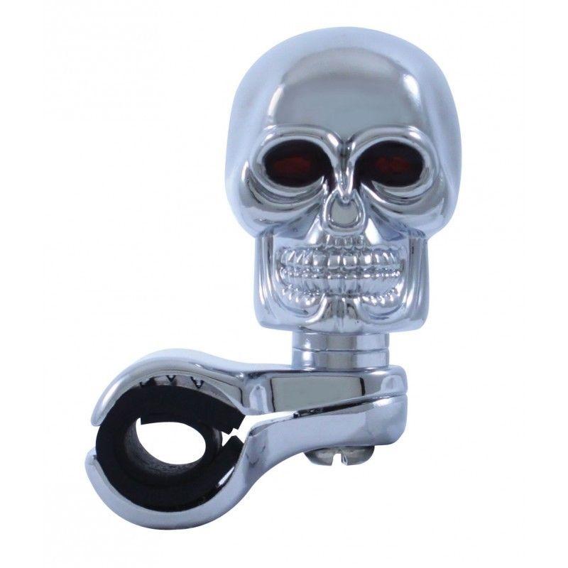 Chrome Skull Steering Wheel Spinner, Universal Fit