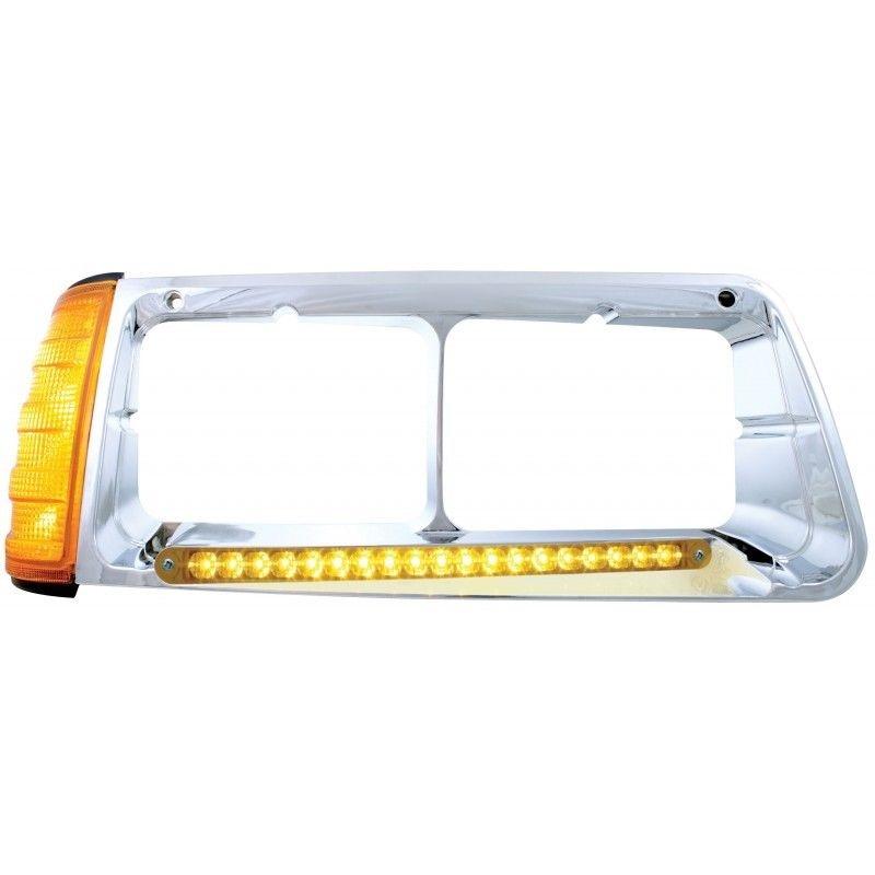 19 Amber LED Headlight Bezel with turn signal for Freightliner FLD, Passenger Side
