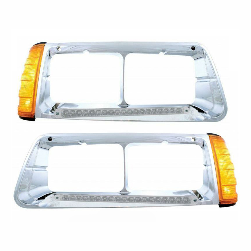 19 LED FREIGHTLINER FLD HEADLIGHT BEZEL (SET) WITH TURN SIGNALS - AMB/CLEAR