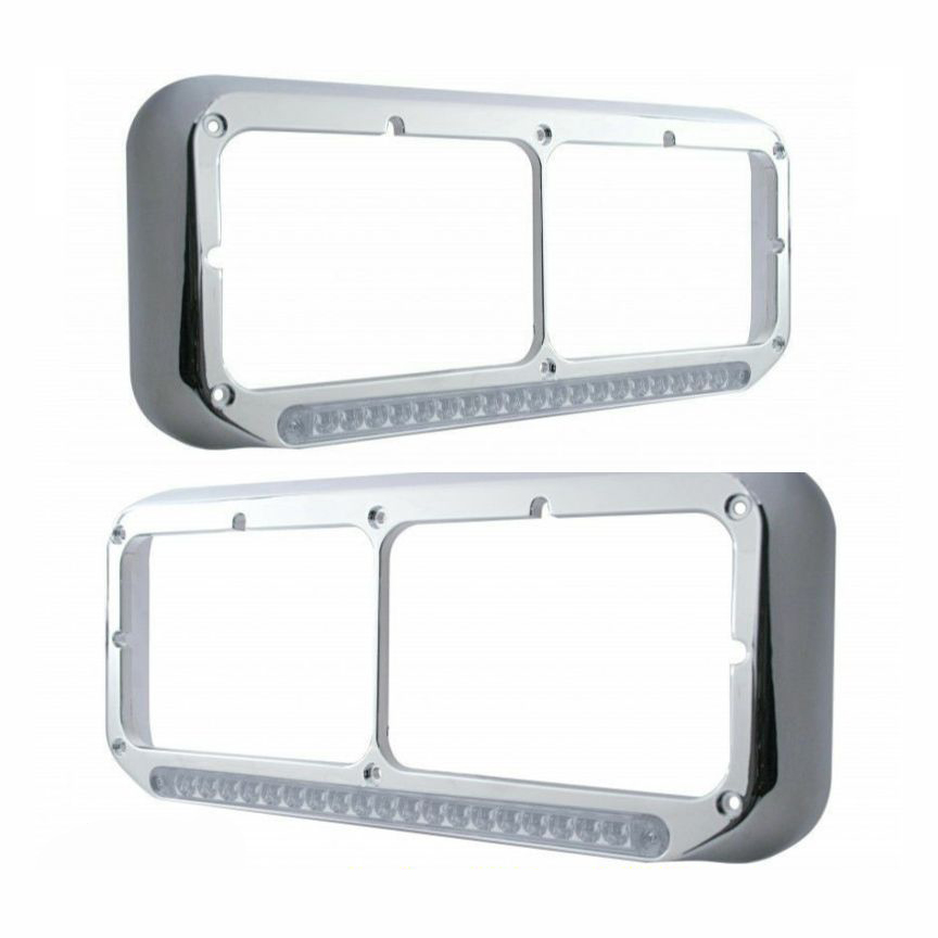 LED Dual Headlight Bezel - ALL TRUCK MAKES - (SET) Amber LED w/ Clear Lens