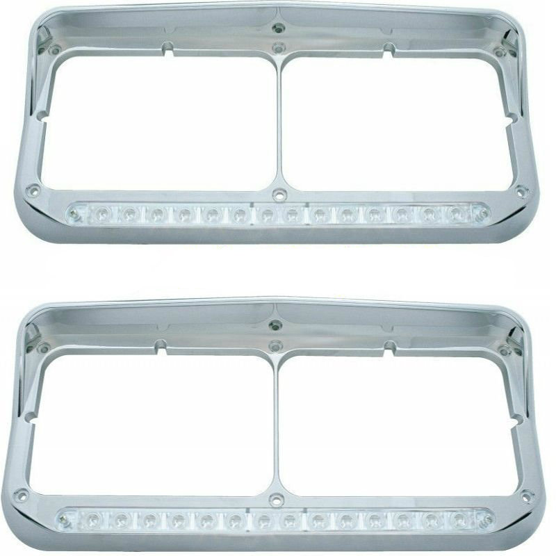 Peterbilt Freightliner Kenworth - LED Dual Headlight Bezel with Visor (SET)