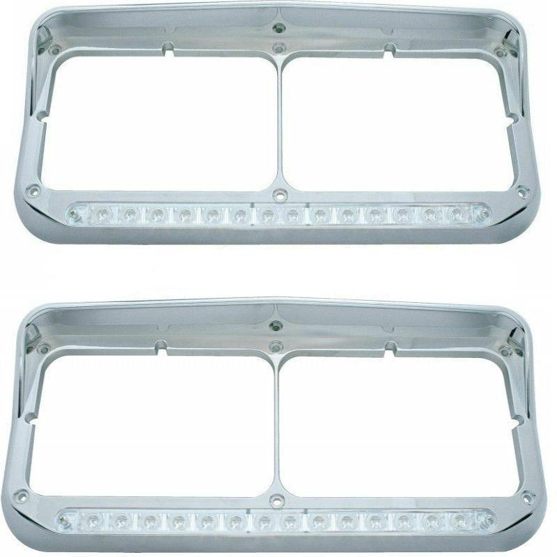 Peterbilt Freightlin‰ÛÜer Kenworth - LED Dual Headlight Bezel with Visor (SET)
